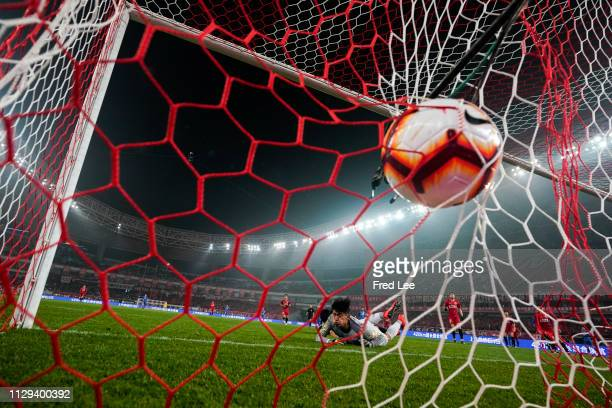 Zhang Wei of Shanghai SIPG celebrates after scoring his team's second goal during the 2019 China Super League between Shanghai SIPG and Jiangsu...