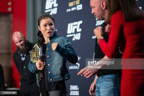 Zhang Weili of China and Joanna Jedrzejczyk of Poland face off during the UFC 248 Ultimate Media Day at UFC APEX on March 5 2020 in Las Vegas Nevada