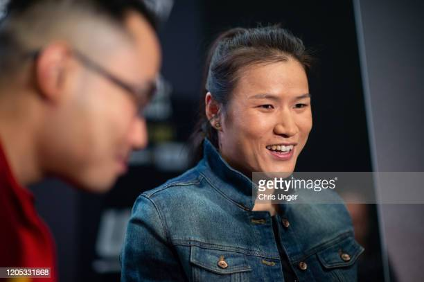 Zhang Weili of China speaks to the media during the UFC 248 Ultimate Media Day at UFC APEX on March 5 2020 in Las Vegas Nevada