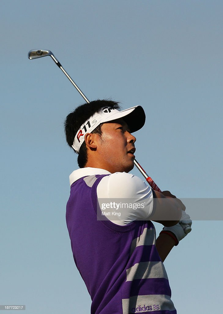 Zhang Xin Jun of China plays a tee shot during day one of the 2012 Australian Open at The Lakes Golf Club on December 6, 2012 in Sydney, Australia.