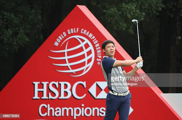 Zhang Xinjun of China hits his teeshot on the fourth hole during the third round of the WGC HSBC Champions at the Sheshan International Golf Club on...