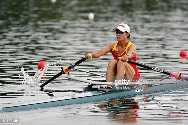 Zhang Xiuyun of China competes in the Women's Single Sculls Final at the Shunyi Olympic Rowing-Canoeing Park on Day 8 of the Beijing 2008 Olympic...
