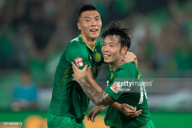 Zhang Xizhe of Beijing Guoan celebrates after scoring his team's second goal during 2018 Chinese Super League match between Beijing Guoan and Jiangsu...