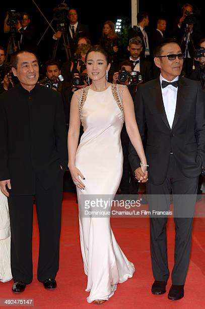 Zhang Yimou Li Gong and Chen Daoming attend the Coming Home Premiere during the 67th Annual Cannes Film Festival on May 20 2014 in Cannes France