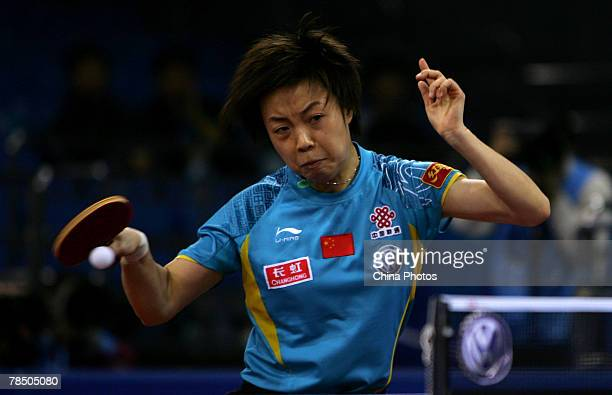 Zhang Yining of China hits the ball against her compatriot Li Xiaoxia during women's single semifinal of the Good Luck Beijing 2007 Volkswagen Pro...