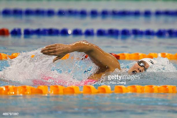 Zhang Yuhan of China compete in the Women's 800 meters freestyle final on day seven of the China National Swimming Championships on April 15 2015 in...
