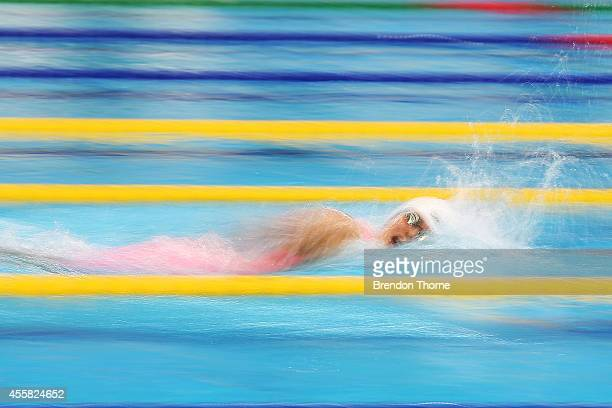 Zhang Yuhan of China competes in heat two of the Women's 400m Freestyle during day two of the 2014 Asian Games at Munhak Park TaeHwan Aquatics Center...