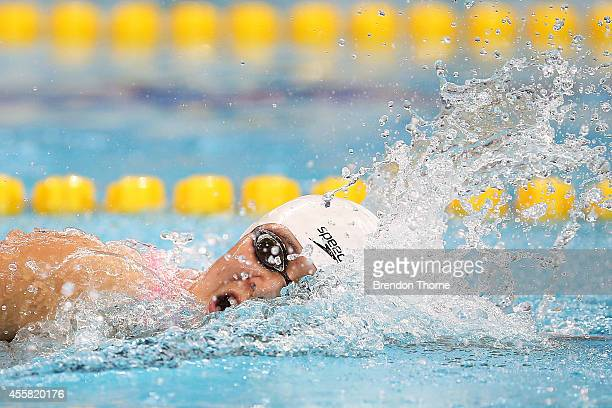 Zhang Yuhan of China competes in the Women's 400m Freestyle during day two of the 2014 Asian Games at Munhak Park TaeHwan Aquatics Center on...