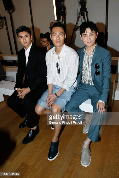 Zhang Yun Long Tony Yang and Sun Jian attend the Cerruti Menswear Spring/Summer 2018 show as part of Paris Fashion Week on June 23 2017 in Paris...