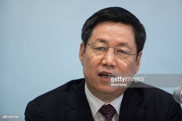 Zhang Yun president and vice chairman of Agricultural Bank of China Ltd speaks during a news conference in Hong Kong China on Tuesday March 24 2015...