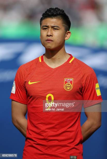 Zhang Yuning looks on during Iran against China PR FIFA 2018 World Cup Qualifier on March 28 2017 in Tehran Iran
