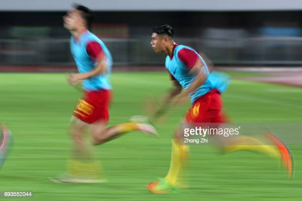 Zhang Yuning of China in action during the half time break of the CFA Team China International Football Match between China National Team and...