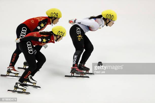 Zhang yuting Wang Xiran of China and Kim jiyoo of Korea competes in the Ladies 1500M Final B duirng the 2017 Shanghai Trophy at the Oriental Sports...