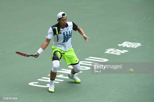 Zhang Ze of China in action during the Men's singles first round against Wu Di of China on day 2 of the 2020 CTA Tour 800 1000 Finals Chengdu Open at...