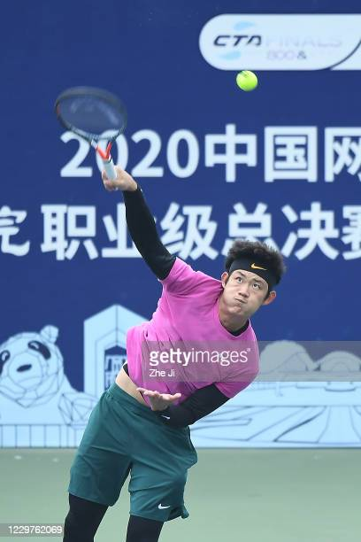 Zhang Zhizhen of China in action during the Men's singles first round against Li Yuanfeng of China on day 2 of the 2020 CTA Tour 800 1000 Finals...