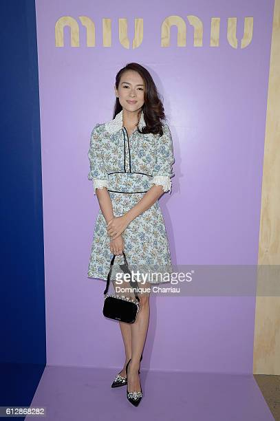 Zhang Ziyi attends the Miu Miu show as part of the Paris Fashion Week Womenswear Spring/Summer 2017 on October 5 2016 in Paris France