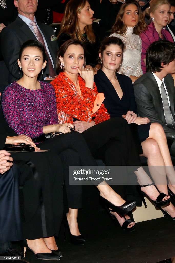 Zhang Ziyi, Kristin Scott Thomas and Chiara Mastroianni sit on the front row of the Giorgio Armani Prive show as part of Paris Fashion Week Haute Couture Spring/Summer 2014 on January 21, 2014 in Paris, France.