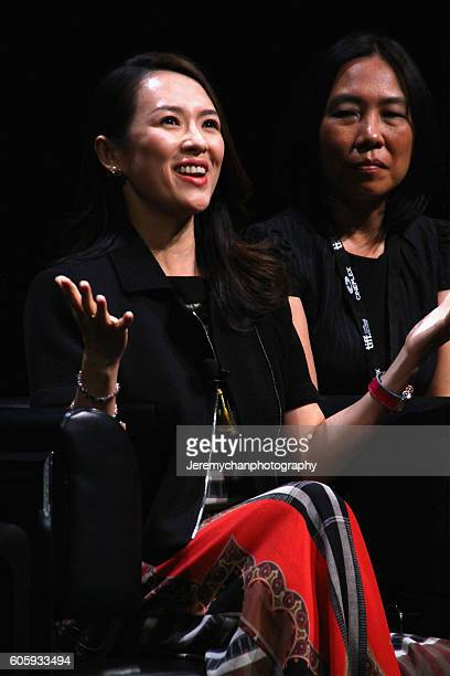 Zhang Ziyi speaks during 'In Conversation With Zhang Ziyi' held at TIFF Bell Lightbox during the Toronto International Film Festival on September 15...
