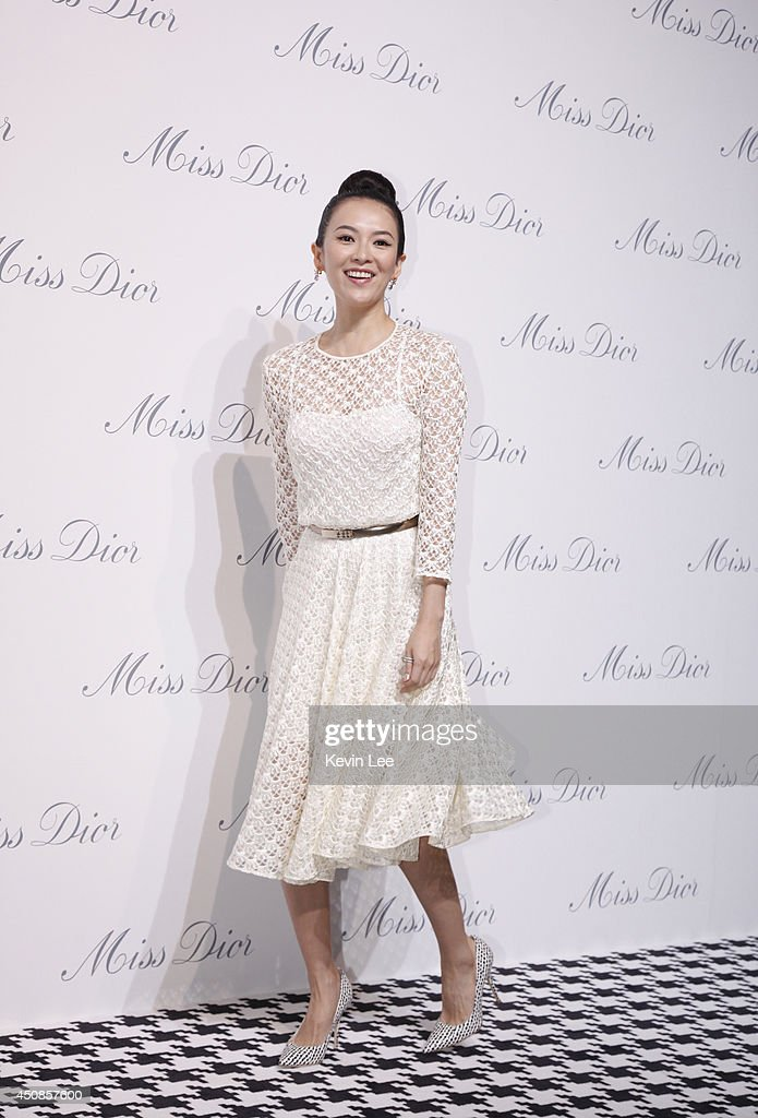 Zhangh Ziyi attends Miss Dior Exhibition on June 19, 2014 in Shanghai, China.