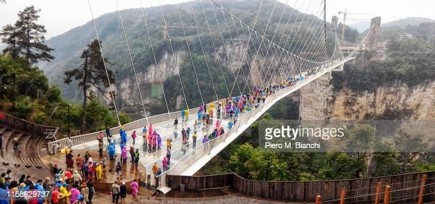 zhangjiajie - glass bridge china stock pictures, royalty-free photos & images