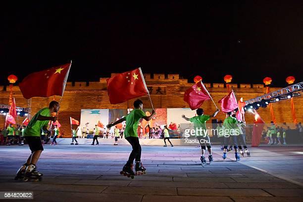 Zhangjiakou citizens celebrate the 1st anniversary of the winning bid for the 2022 Winter Olympics on July 31 2016 in Zhangjiakou China The 2022...