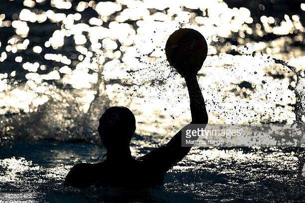 Zhangxin Hu of China looks to pass in the Men's Water Polo Preliminary Round Group A match between Croatia and China on day seven of the 16th FINA...