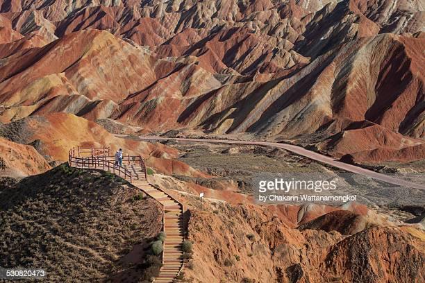 zhangye danxia landform (multicolored landscape) - 甘粛張掖国家地質公園 ストックフォトと画像