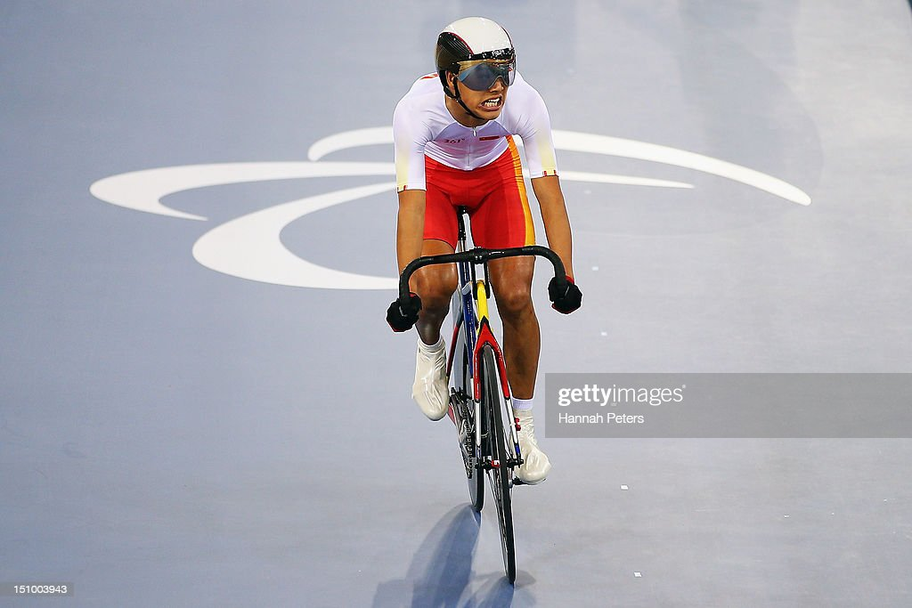 Zhangyu Li of China competes in the Men's Individual C1-2-3 1km Cycling Time Trial on day 1 of the London 2012 Paralympic Games at Velodrome on August 30, 2012 in London, England.