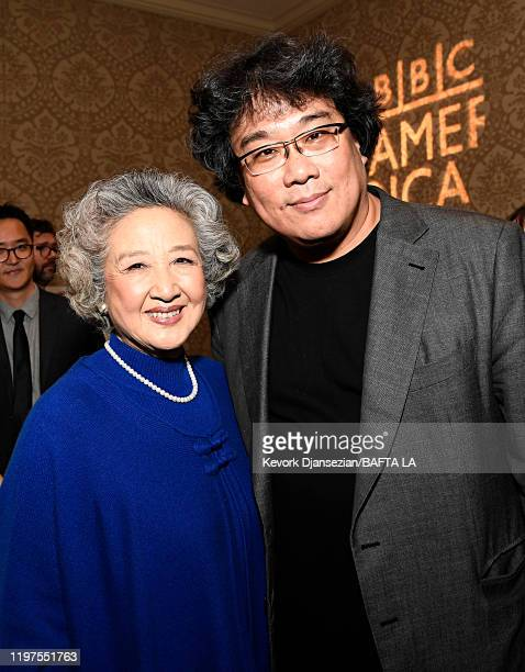 Zhao Shuzhen and Bong Joonho attend The BAFTA Los Angeles Tea Party at Four Seasons Hotel Los Angeles at Beverly Hills on January 04 2020 in Los...