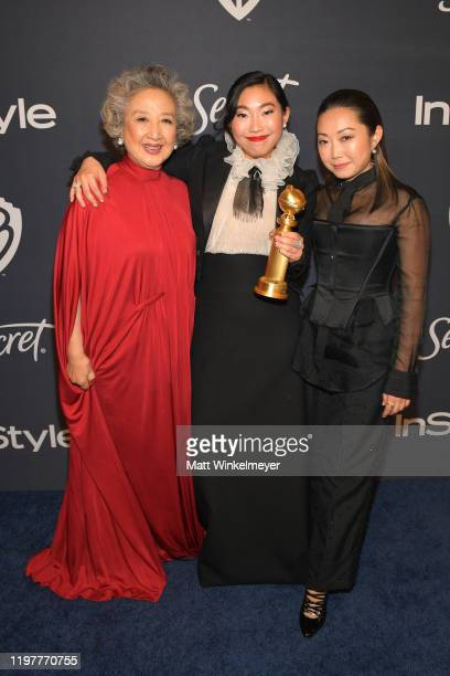 Zhao Shuzhen Awkwafina and Lulu Wang attend The 2020 InStyle And Warner Bros 77th Annual Golden Globe Awards PostParty at The Beverly Hilton Hotel on...