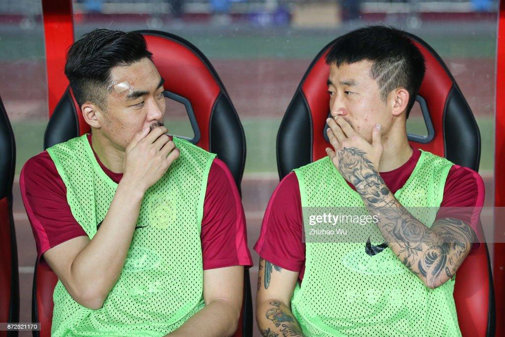 Zhao Xuri(L) and Jiang Zhipeng(R) of China during International Friendly Football Match between China and Serbia at Tianhe Stadium on November 10, 2017 in Guangzhou, China.