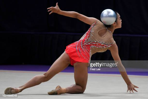 Zhao Yating of China competes during Rhythmic Gymnastics Team All-Around final on day nine of the Asian Games on August 27, 2018 in Jakarta,...