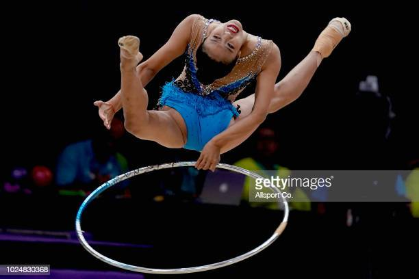 Zhao Yating of China competes in the ribbon exercise during the Women's Rhythmic Gymnastics Individual AllRound competition at the Jiexpo Hall on day...