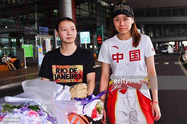 Zhao Yunlei of Chinese badminton team arrives at the airport after competing in the Rio 2016 Olympic Games on August 22, 2016 in Beijing, China.
