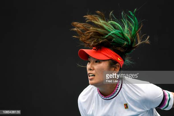 Zhaoxuan Yang of China reacts in her first round doubles match with Shuai Peng of china against Ashleigh Barty of Australia and Victoria Azarenka of...