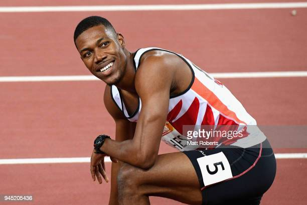 Zharnel Hughes of England celebrates winning gold in the Men's 200 metres final during athletics on day eight of the Gold Coast 2018 Commonwealth...