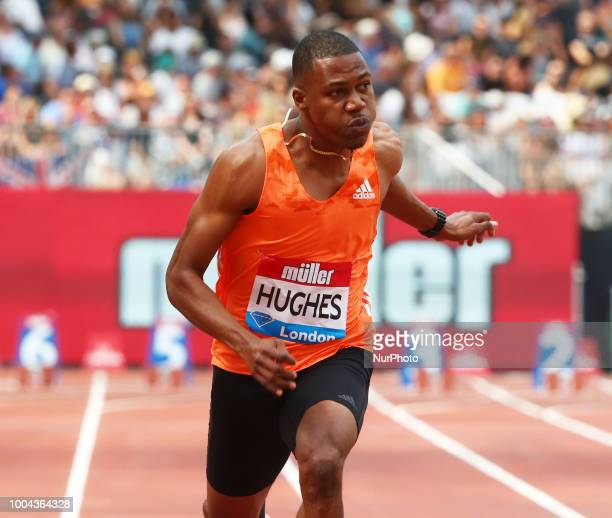 Zharnel Hughes of Great Britain and Northern Ireland compete in the 100m Men Final during the Muller Anniversary Games IAAF Diamond League Day One at...