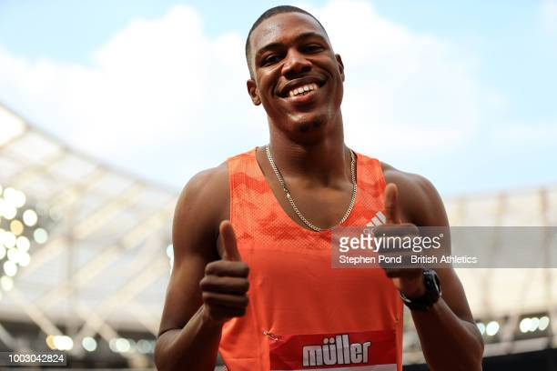 Zharnel Hughes of Great Britain celebrates finishing in second place in the Men's 100M during Day One of the Muller Anniversary Games at London...