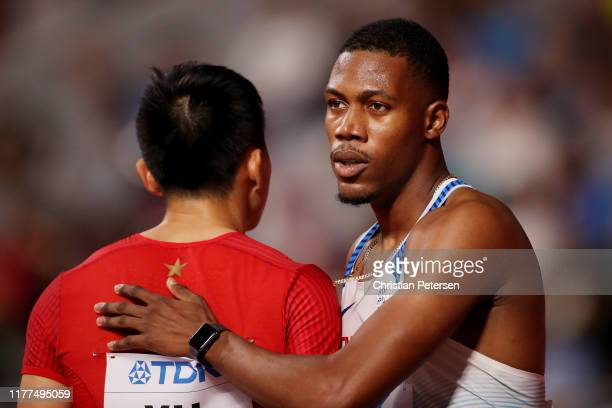 Zharnel Hughes of Great Britain looks on after the Men's 100 metres heats during day one of 17th IAAF World Athletics Championships Doha 2019 at...