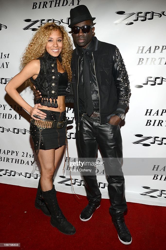 Zhavea, wearing Forgotten Saints, Alaia and Bartels and Harley Davidson and Sam Sarpong attend the Sam Sarpong Hosts Zhavea's 21st Birthday Bash At A Private Mansion In Hollywood event on January 19, 2013 in Hollywood, California.
