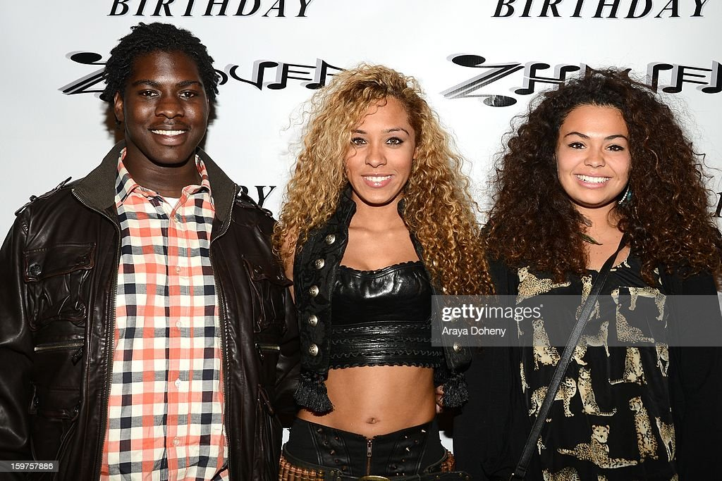 Zhavea (C), wearing Forgotten Saints, Alaia and Bartels Harley Davidson and guests attend the Sam Sarpong Hosts Zhavea's 21st Birthday Bash At A Private Mansion In Hollywood event on January 19, 2013 in Hollywood, California.