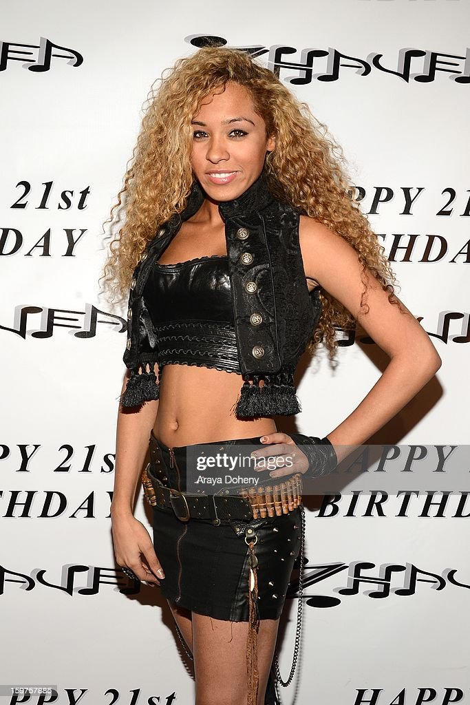 Zhavea, wearing Forgotten Saints, Alaia and Bartels Harley Davidson attends the Sam Sarpong Hosts Zhavea's 21st Birthday Bash At A Private Mansion In Hollywood event on January 19, 2013 in Hollywood, California.