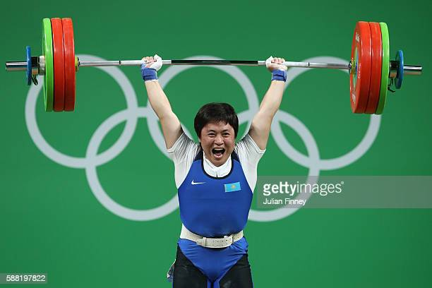 Zhazira Zhapparkul of Kazakhstan lifts during the Women's 69kg Group A weightlifting contest on Day 5 of the Rio 2016 Olympic Games at Riocentro -...