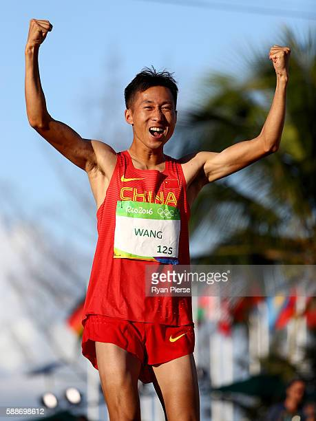 Zhen Wang of China celebrates winning gold in the Men's 20km Race Walk on Day 7 of the Rio 2016 Olympic Games at Pontal on August 12, 2016 in Rio de...