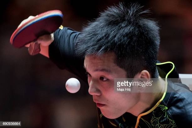 Zhendong Fan of China competes during Men Single 1 Round at Table Tennis World Championship at Messe Duesseldorf on May 31 2017 in Dusseldorf Germany