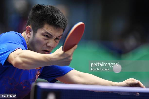 Zhendong Fan of China competes during the men's singles final match against Long Ma of China on the day 5 of the 2017 ITTF World Tour Platinum LION...