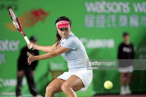 Zheng Jie in action during the Watsons Water Champions Challenge match between Belgium's Kim Clijsters and China's Zheng Jie in Hong Kong, China on...