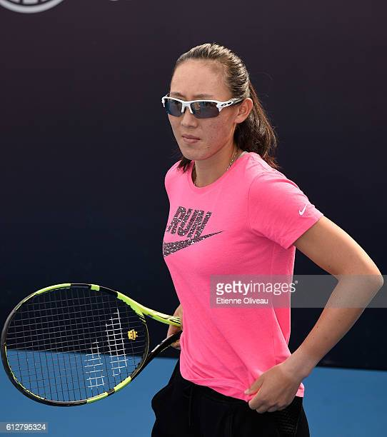 Zheng Saisai of China attends the Harverst Fund Clinic event on day five of the 2016 China Open at the National Tennis Centre on October 5 2016 in...