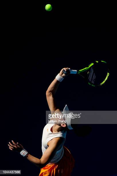 Zheng Saisai of China hits a return against Sloane Stephens of the United States during their Woen's Singles 2nd Round match of the 2018 China Open...