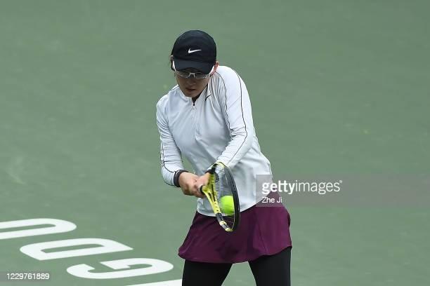 Zheng Saisai of China in action during the Women's singles first round against Wang Xinyu of China on day 2 of the 2020 CTA Tour 800 1000 Finals...